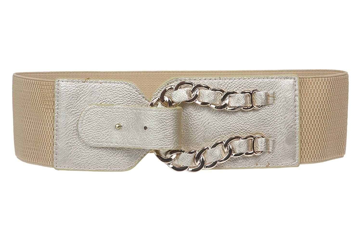 3 Wide High Metel Chain Ring fold Fashion Stretch Belt