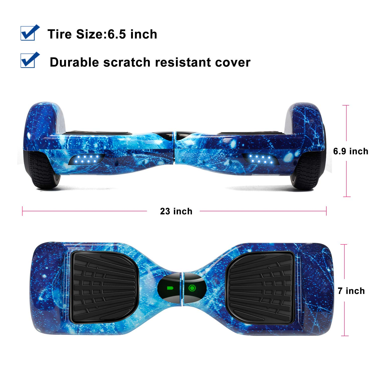 VEVELINE Hoverboard UL2272 Certified 6.5 inch Self Balancing Electric Scooter with Colorful Flash Wheel,Hover Board for Kids Adults with Free Carry Bag
