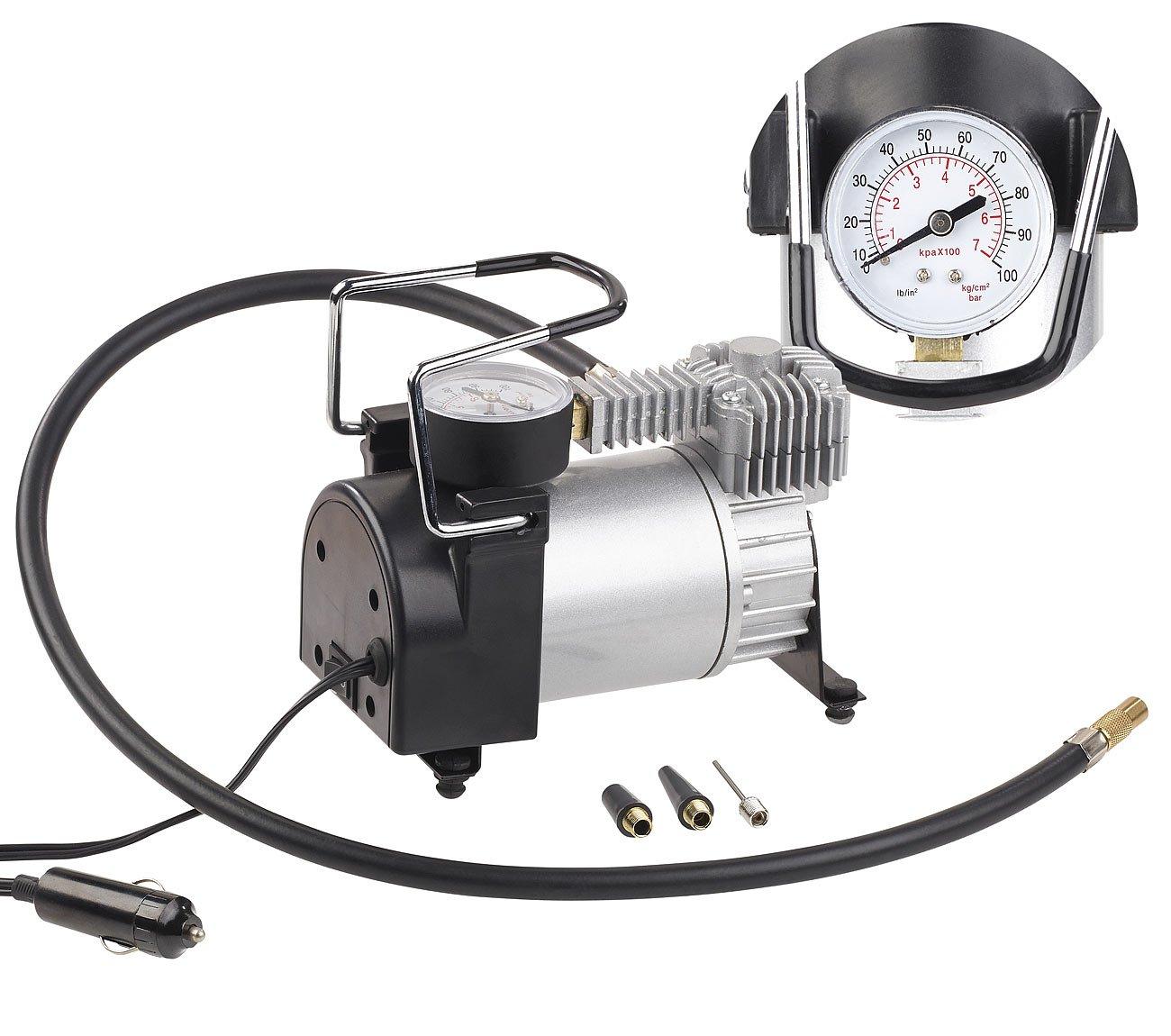 12 V 3 Adapter 168 Watt Lescars Mini Luftkompressor: Mini-Luft-Kompressor mit Manometer Auto Luftpumpe 100 psi