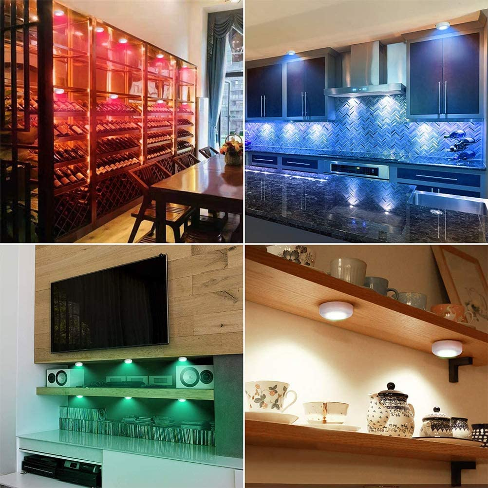 Led Under Cabinet Lighting Dimmable Closet Light,BedroomLights Suszian Puck Lights With Remote,3 PCS 16 Color Cabinet Lights Remote Control LED Night Lights Dimmable Cabinet Lamps