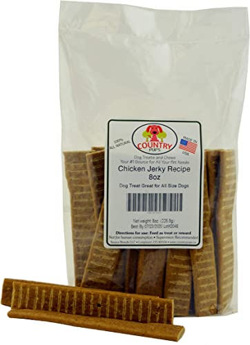 Country Pup's Chicken Jerky Dog Treat - 8oz All Natural, Soft and Chewy - Great Training Tool