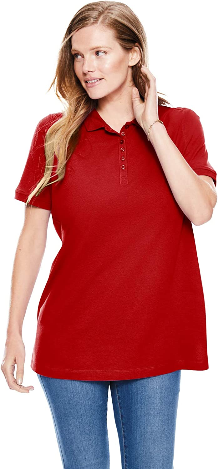 Woman Within Womens Plus Size Perfect Polo Shirt
