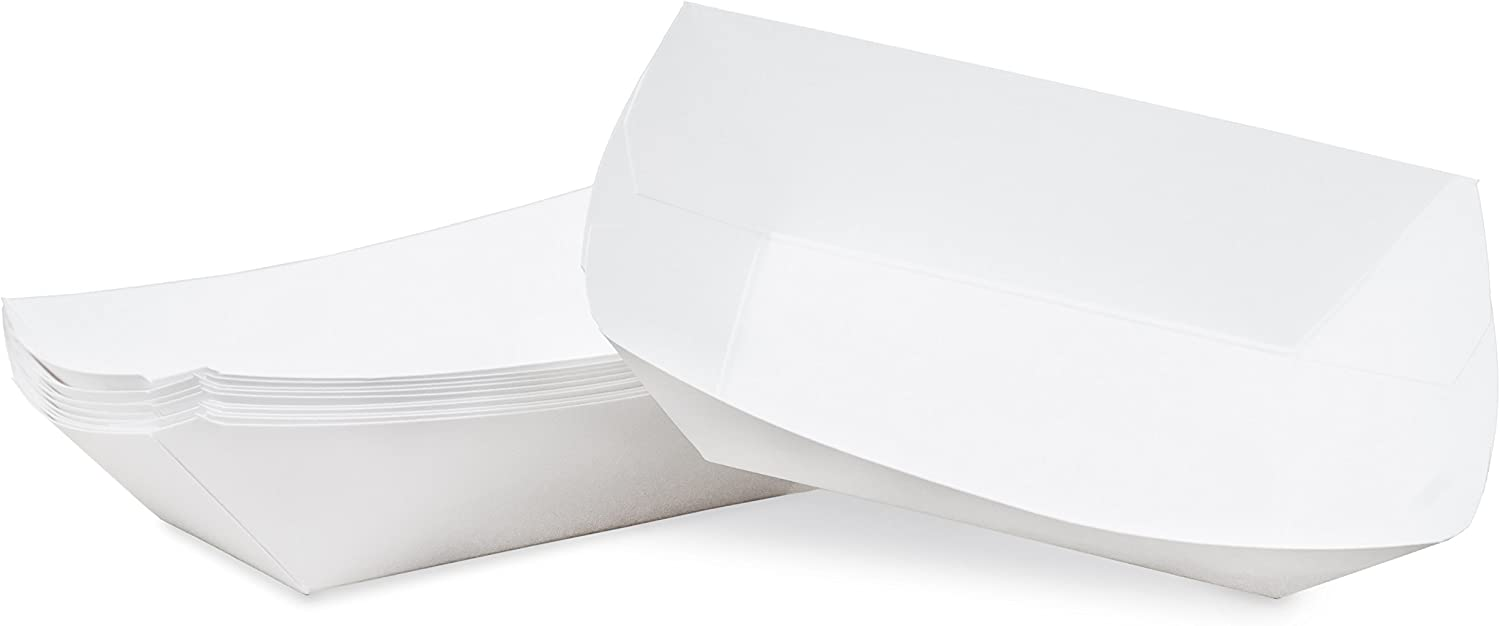 2 lb White Disposable Paper Food Tray for Carnivals, Fairs, Festivals, Concession Stands, Food Trucks (White - medium 2 lb, 50 pack)