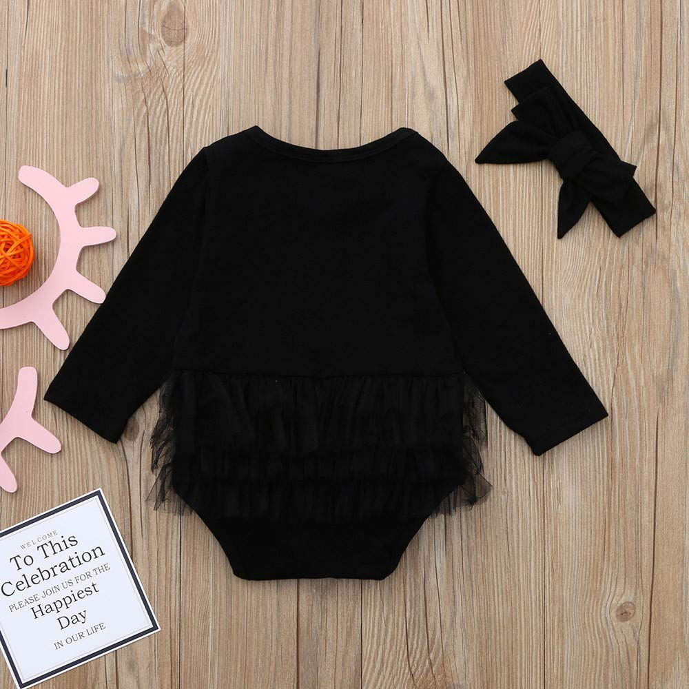 NUWFOR Infant Newborn Baby Girl Tulle Tutu Romper Bodysuit Clothes Headband Outfits Set(Black,18-24 Months by NUWFOR (Image #4)