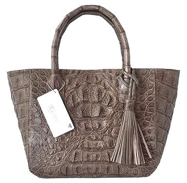 ea341d835e04 Authentic River Crocodile Skin Womens Genuine Hornback Leather Handbag Bag  Tote Hobo W Tuft (