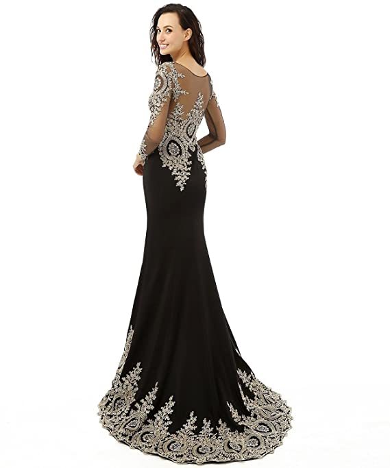 Amazon.com: Licheng Bridal Appliques Beading Long Sleeve Floor-length Mermaid Prom Dress: Clothing