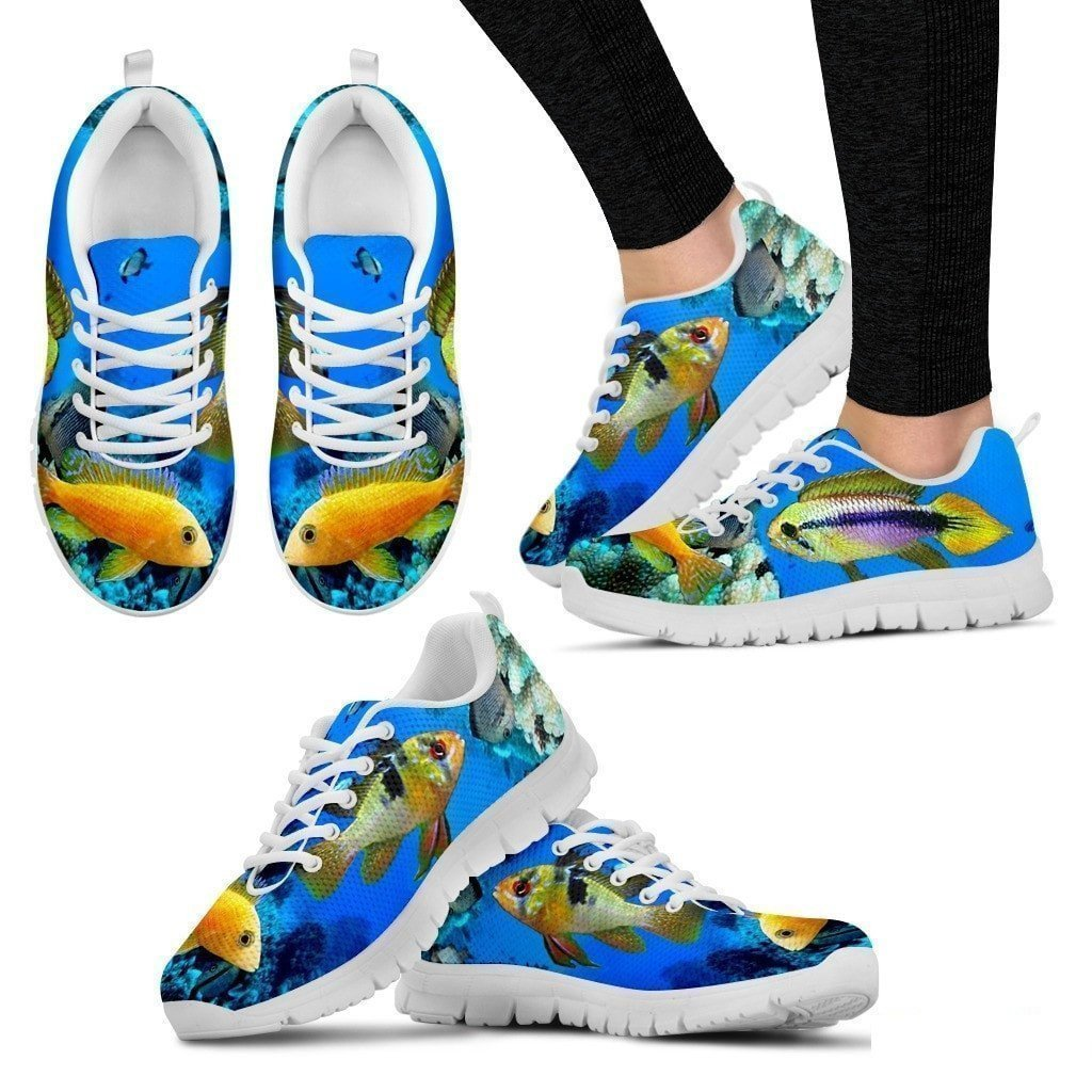 Pet Animal Designs Dwarf Cichlid Fishes-Running Shoes for Women-Casual Sneaker