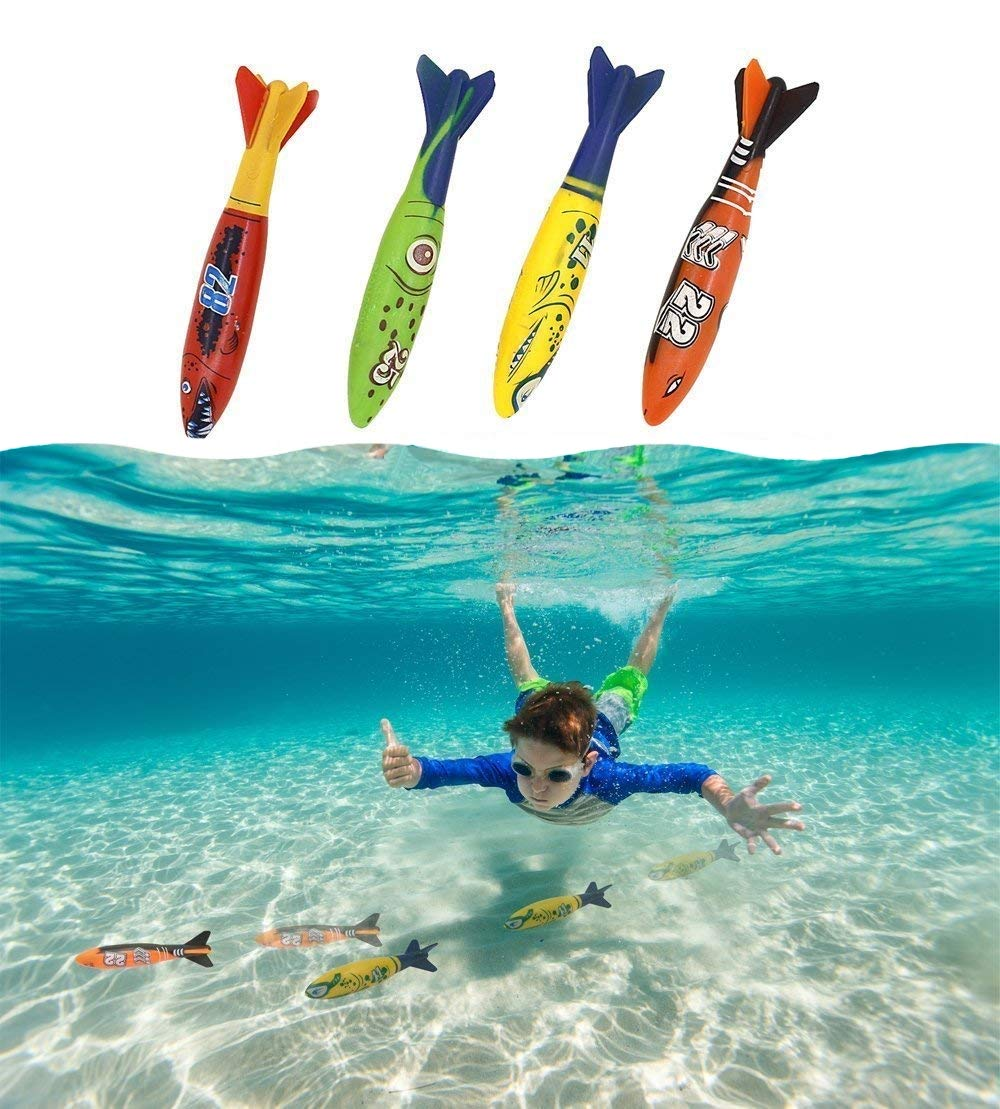 Haktoys Underwater Fast Gliding Shark Torpedo Toy 5'' - Glides Up to 20 Feet | for Use in Water, Bathtub, Pool, Sea, Ocean | Safe and Durable | Great for Kids, Beginner Swimmers & Divers (4 Pack)