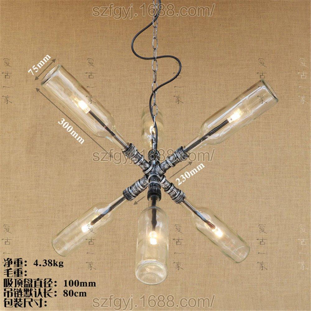 6 botella de agua de jarra Botella de vidrio candelabro de luz colgantes Dormitorio Bar Salón Bar Restaurante, 75mm * 300 mm: Amazon.es: Iluminación