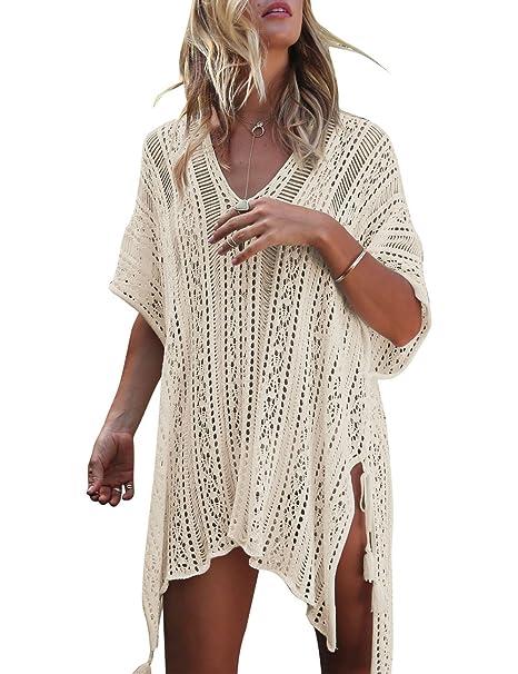 86da7684a6 Yonala Women's Bathing Suit Cover Up Beach Bikini Swimsuit Swimwear Crochet  Beach Dress Apricot