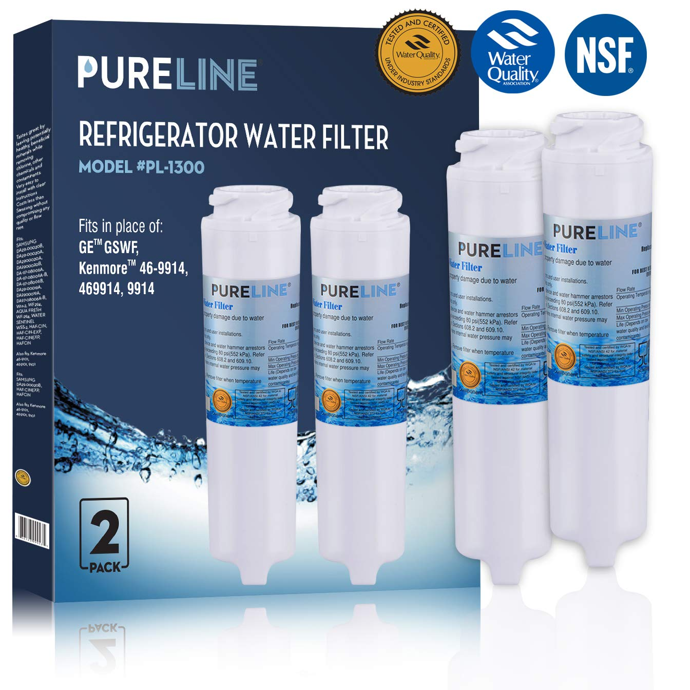 GE GSWF Fast Flow Compatible Water Filter Replacement For GE GSWF Refrigerator Water Filter By Pure Line (2 PACK)