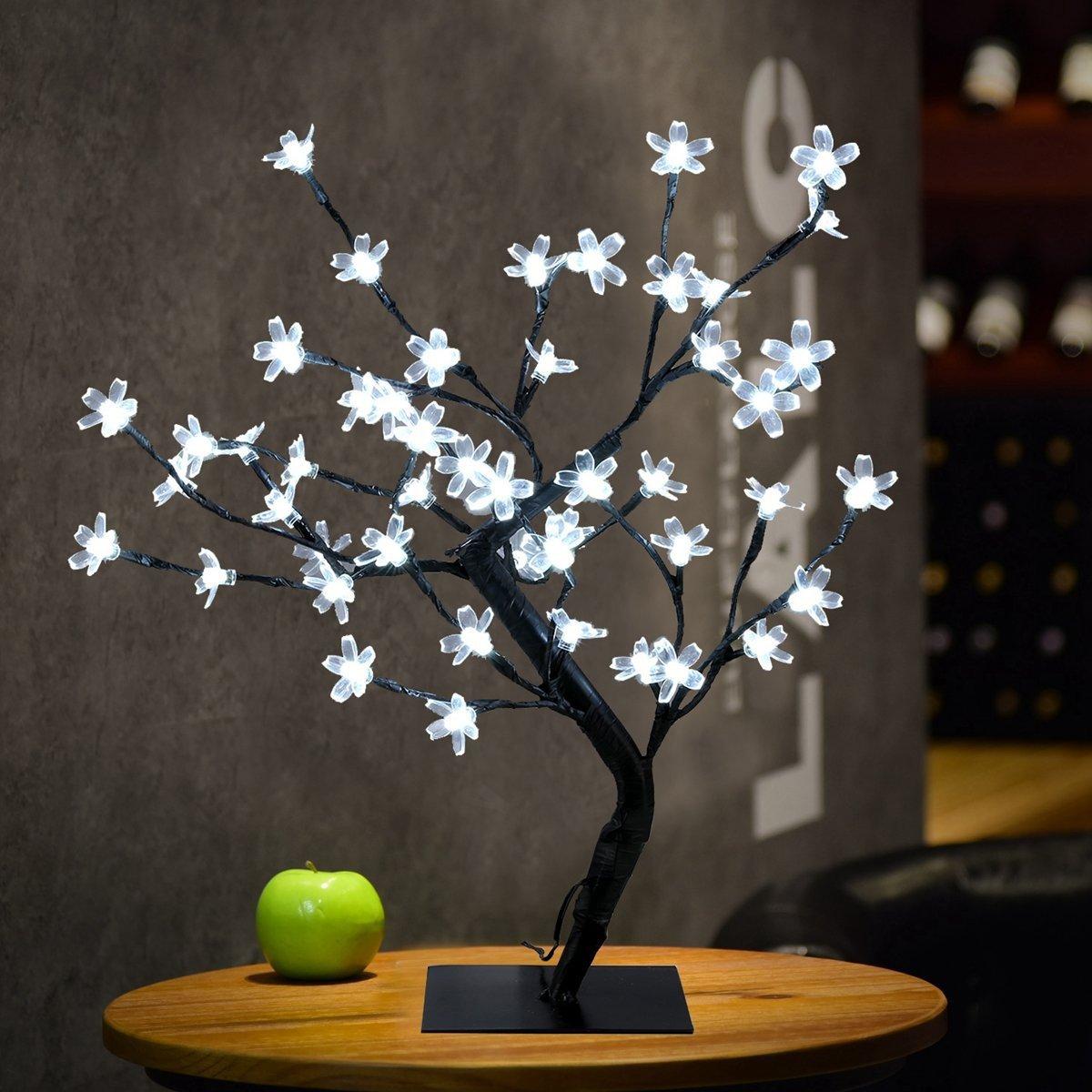 Freebily Shapeable LEDs Flower Blossom Bonsai Tree Christmas Replacement Desk Light for Home Windowsill Festival Indoor Outdoor Decor White One Size