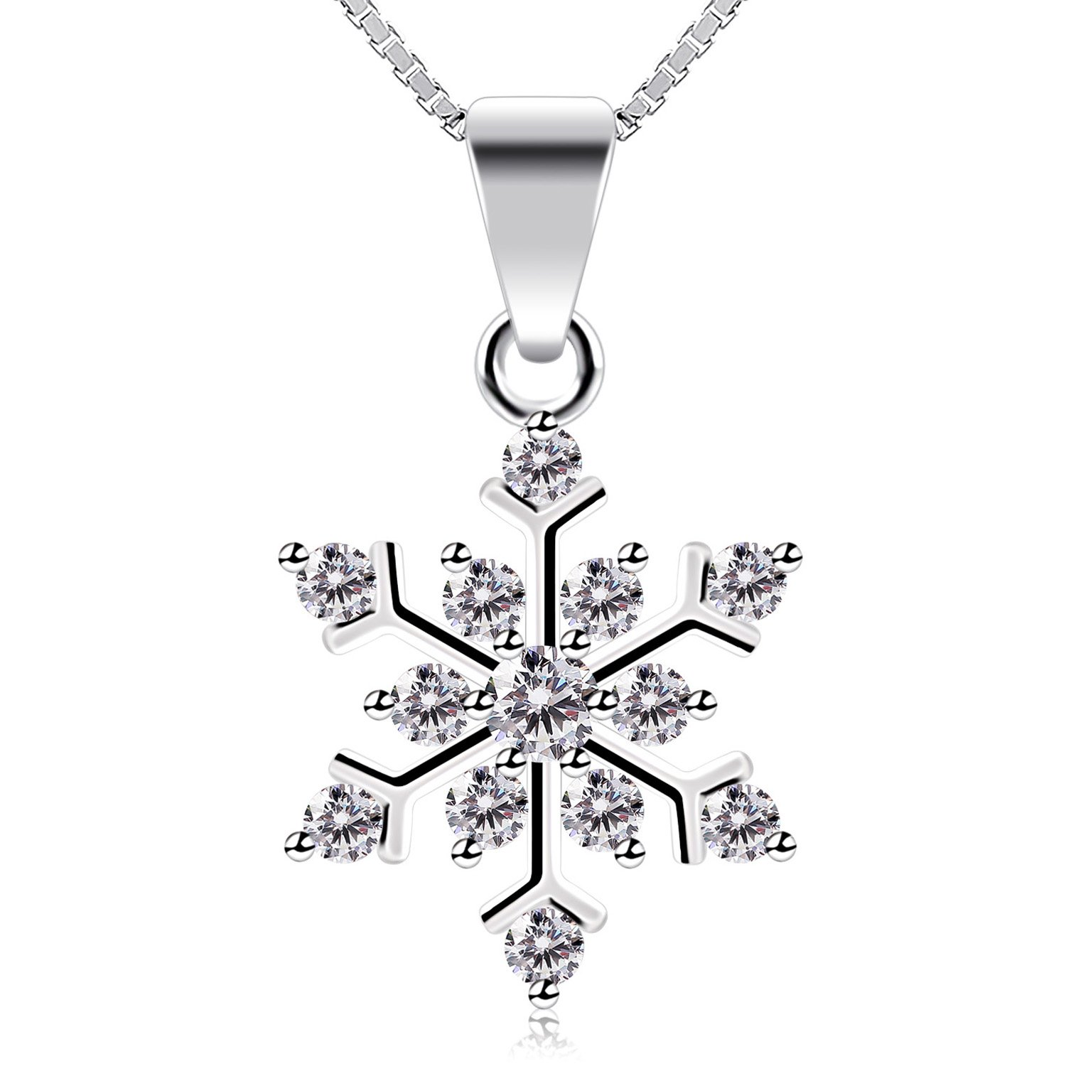 and sterling white pendant blue silver swarovski crystals products snowflake necklace with
