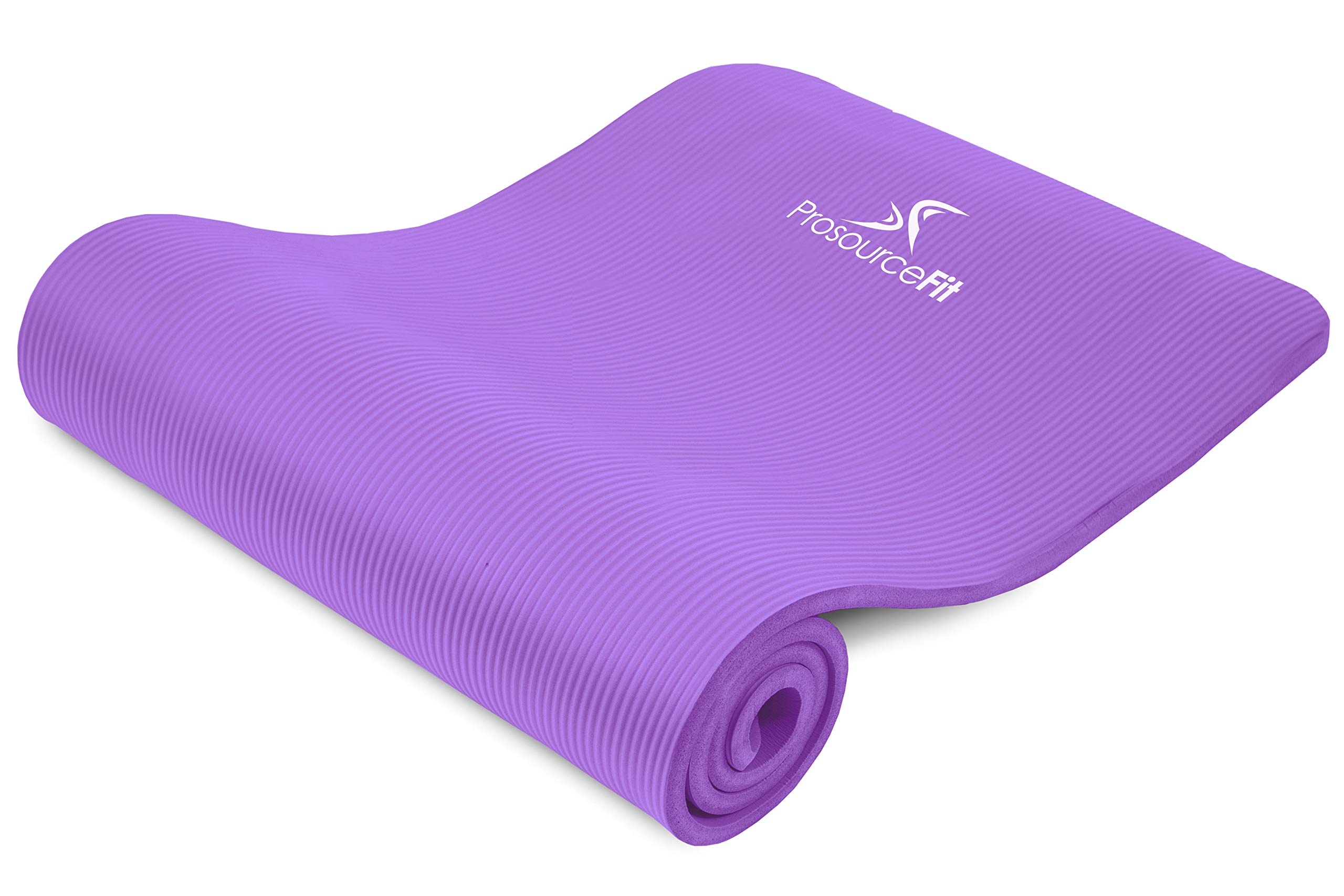 ProsourceFit Extra Thick Yoga and Pilates Mat ½'' (13mm), 71-inch Long High Density Exercise Mat with Comfort Foam and Carrying Strap, Purple
