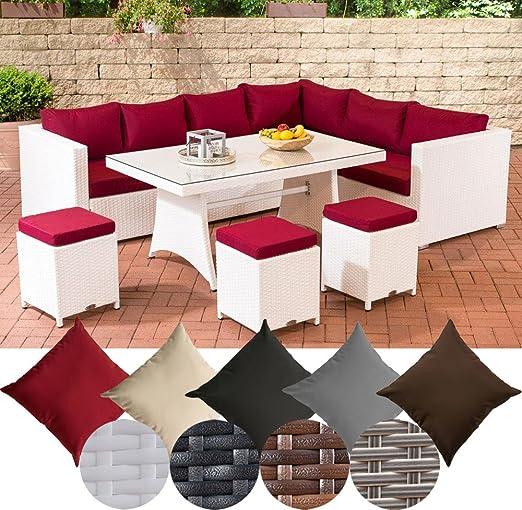 Grupo CLP de comedor de jardín de rattán sintético SIENA, asiento de esquina con cristal de mesa aprox. 140 x 80 cm y tres taburete de ratán, ocho asientos en total.: Amazon.es: