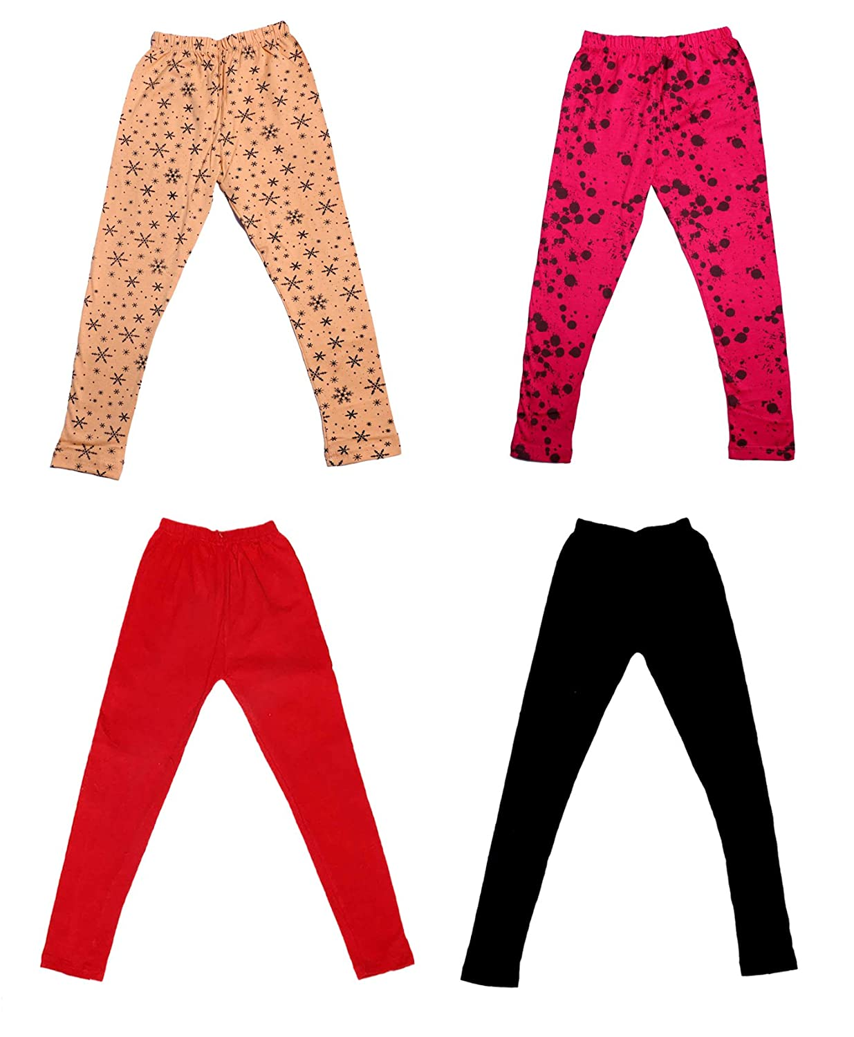 Pack Of 4 and 2 Cotton Printed Legging Pants /_Multicolor/_Size-3-5 Years/_71404051920-IW-P4-24 Indistar Girls 2 Cotton Solid Legging Pants