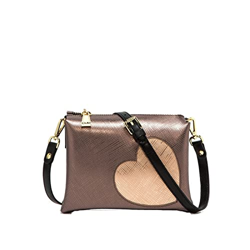 a896596d35 GUM BORSA A TRACOLLA TWO 4049 GLOSSY HEART BRONZO CUORE ORO ROSA - MADE IN  ITALY
