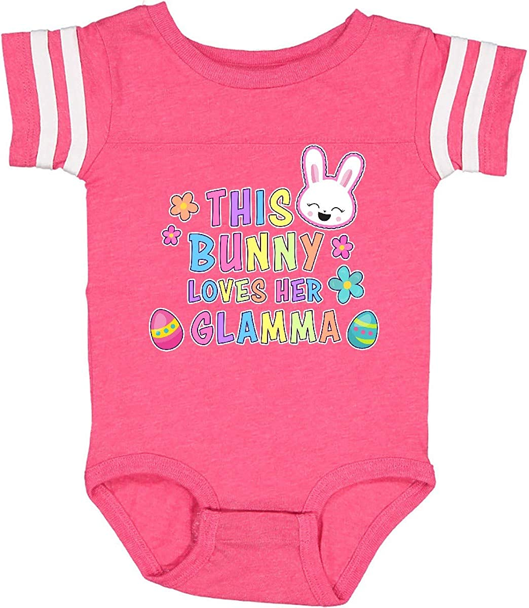 inktastic This Bunny Loves Her Glamma with Bunny Face and Flowers Infant Creeper