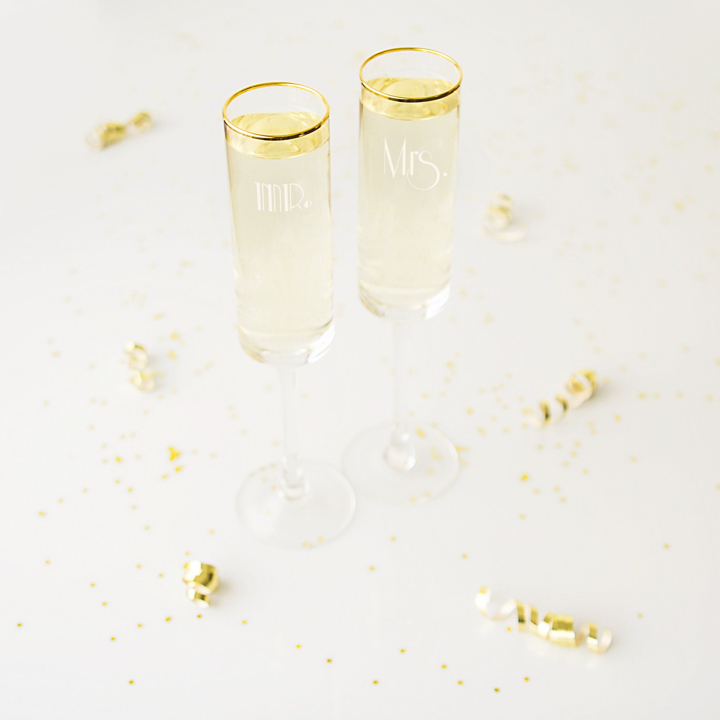 Cathy's Concepts GMM-3668G Mr. & Mrs. Gatsby Rim Contemporary Champagne Flutes, Clear/Gold by Cathy's Concepts (Image #3)