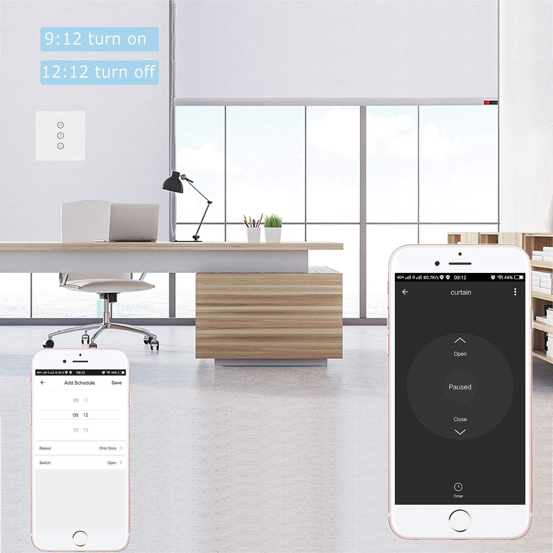 Jinvoo WiFi Curtain Switch n/écessite 1 /échelle neutre, Prise en charge 2,4 GHz Compatibilit/é bile con iOS//Android contr/ôleur scooter Shutter Switch Compatible avec Alexa Echo et Google Home