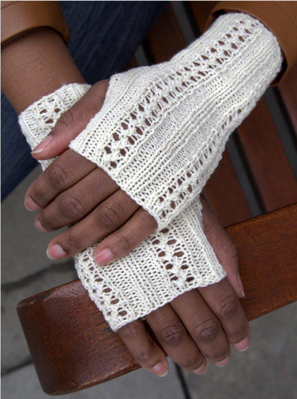 Perlina yarn Lacey Fingerless Gloves Knit Kit -WHITE