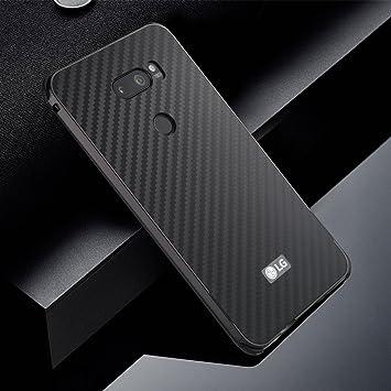 EUDTH LG V30 Funda, Carbono Fibra Acrílico Back Cover + Aluminio Bumper [2 in 1] Anti-Choque Anti-rasguños Híbrido Carcasa para LG V30 - Negro