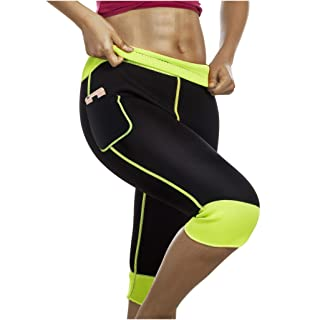 Womens Weight Loss Hot Neoprene Sauna Sweat Pants with Side Pocket Workout Body Shaper Thighs Belly Slimming Capris Leggings (Black-Green, M)