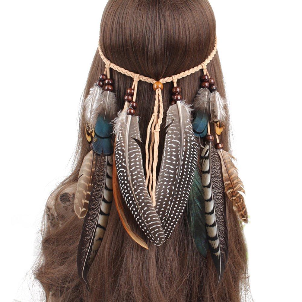 ZUMUii Butterme bohème Chic Plume Bandeau/Hippie Accessoires de Luxe Décoration du Cheveux Coiffe pour la fête du Festival de la Mascarada Marron