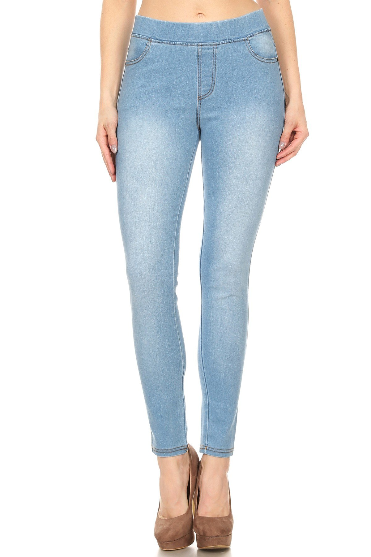 Women's Plus Size High Waist Stretchy Pull-On Skinny Denim Jeans (X-Large, Light Blue)