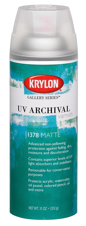 Krylon K01378000 Gallery Series UV Archival Varnish Aerosol Spray, Matte, 11 Ounce