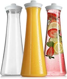 Carafes for Mimosa Bar -Plastic Carafe Water Pitcher - Pitcher with Lid and Spout Clear Juice Containers with lids for Fridge - BPA Free Party Drink Pitcher - Not Dishwasher Safe (3 Pack 50 Oz)