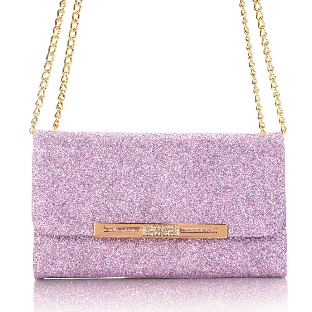TechCode Galaxy S8 Plus Protective Case, Glitter Cute Candy Colour Cover W/Card Slots Flip Lady Multi Envelope Handbag Clutch Wallet Case for Samsung Galaxy S8+ 6.2'' (Purple)