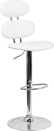 Flash Furniture Contemporary White Vinyl Adjustable Height Barstool