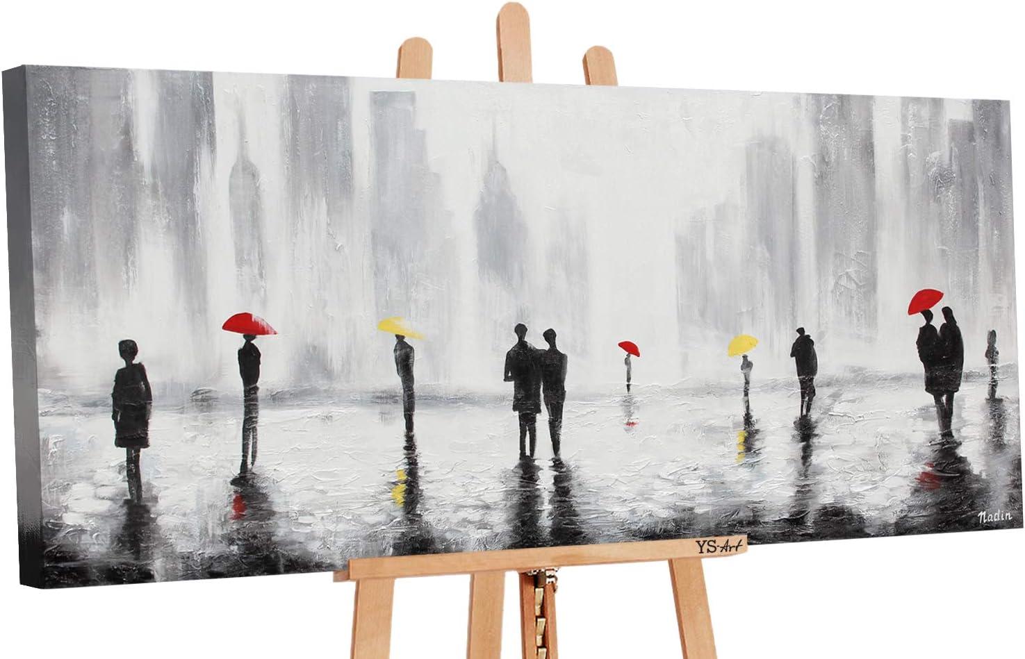 Art Moderne|Unique| Gris 115x50cm Tableau YS-Art Tableau Peinture Acrylique Rencontre 2| Peint /à la Main
