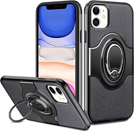 Support Magnetic Car Mount for Apple iPhone 11 Green Compatible with iPhone 11 Case 6.1 Inch,Matte Translucent Anti-Scratch Case with 360 Degree Rotating Ring Holder