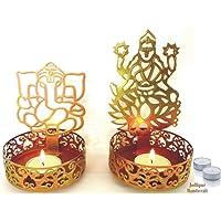 Antique Handicraft Shadow Diya - Tealight Candle Holder of Laxmi ji Ganesh ji as Diwali Gift, Corporate Gift + Set of 4 Tealight Candles