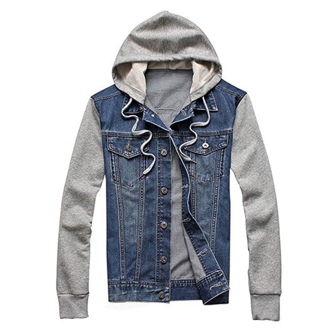 Amazon.com: Denim Chaqueta con capucha para hombre, ropa ...