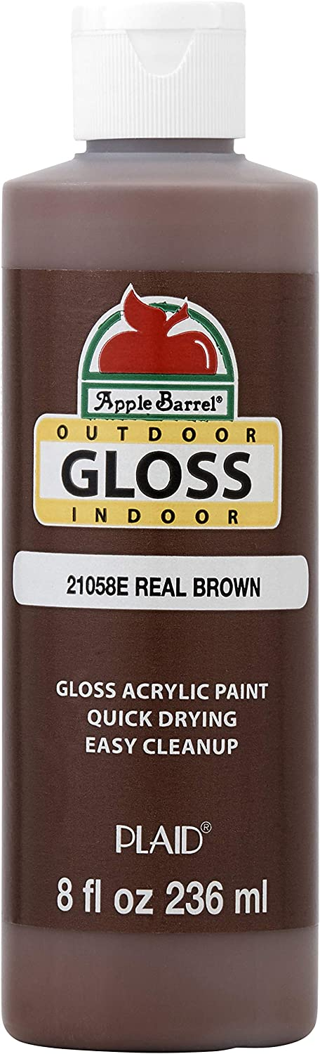 Apple Barrel Gloss Acrylic Paint in Assorted Colors (8 oz), Gloss Real Brown
