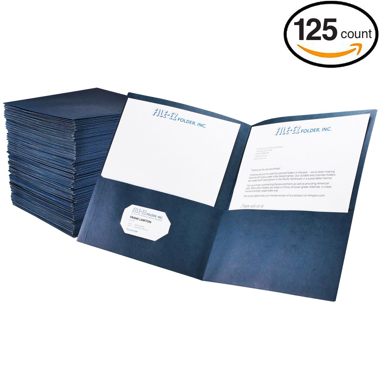 FILE-EZ Two-Pocket Folders, Dark Blue, 125-Pack, Textured Paper, Letter Size (EZ-32423)