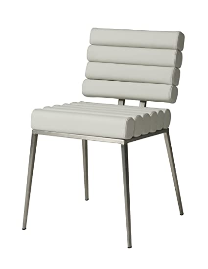 Impacterra Pastel Furniture Fuego Maya Side Chair, Ivory/Stainless Steel