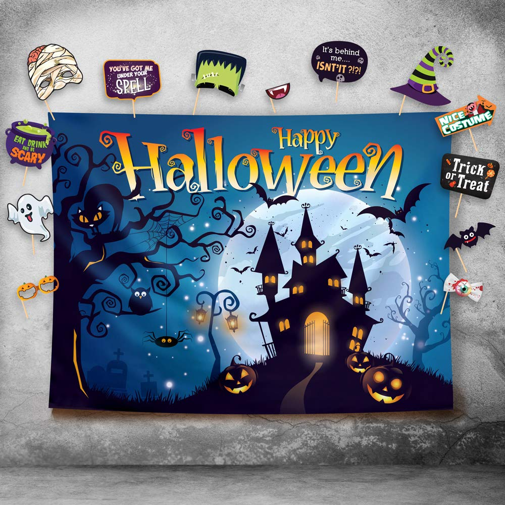 Happy Halloween Photography Backdrop and Studio Props DIY Kit. Great as Photo Booth Background, Costume Dress-up Party Supplies and Event Decorations by Glittery Garden