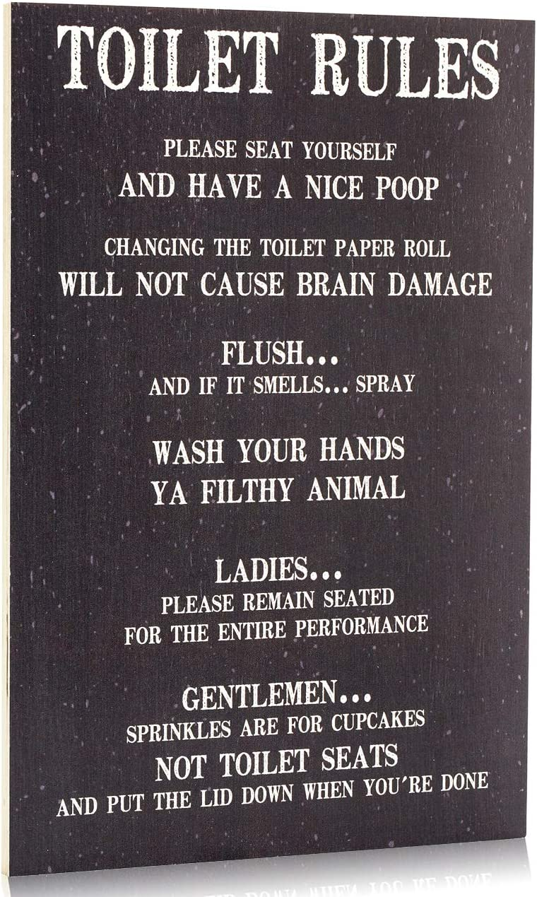 Toilet Rules Sign Bathroom Decor Wall Art, Please Seat Yourself and Have a Nice Poop - Wash Your Hands Ya Filthy Animal (Grey purple)