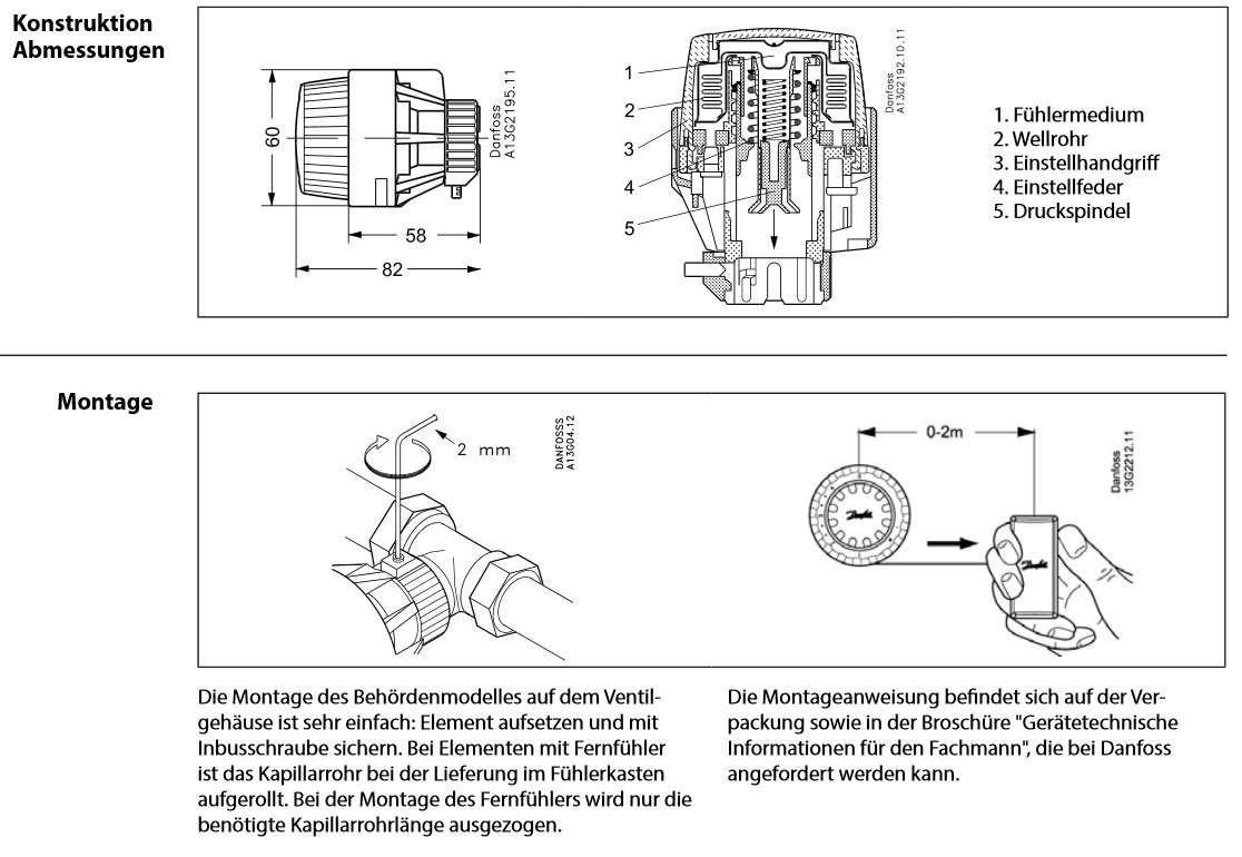 Danfoss rA 2920 beh/ördenmodell t/ête thermostatique avec capteur int/égr/é