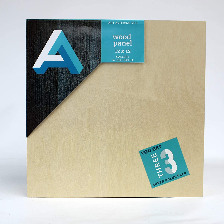 Art Alternatives Wood Panel Super Value Gallery 12x12 Pack of 3, Natural,