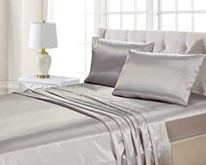 Better Home Style Super Soft Silky Smooth Satin Bed 4 Piece Deep Pocket Sheet Set # Satin (Queen, Silver)