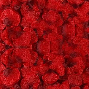BESKIT 3000 Pieces Dark Red Silk Rose Petals Artificial Flower Petals for Wedding Confetti Flower Girl Bridal Shower Hotel Home Party Valentine Day Flower Decoration