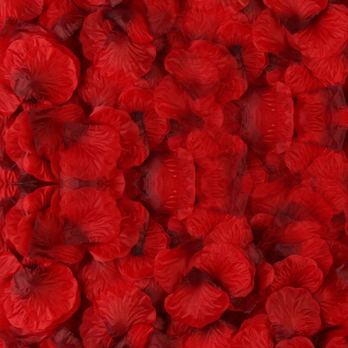 3000PCS Petalos De Rosa Rojo Pétalos de seda de flores artificiales Rojo oscuro