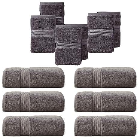 SUMC Juego de toallas con 6 toallas de mano y 6 paños de algodón Toallas de