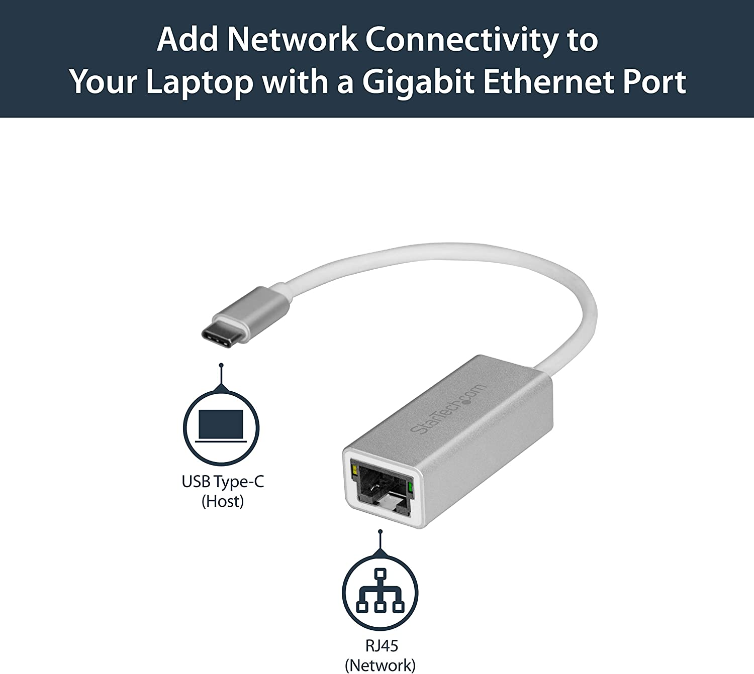 USB Type C Network Adapter Aluminum Thunderbolt 3 Port Compatible StarTech.com USB-C to Gigabit Ethernet Adapter US1GC30A