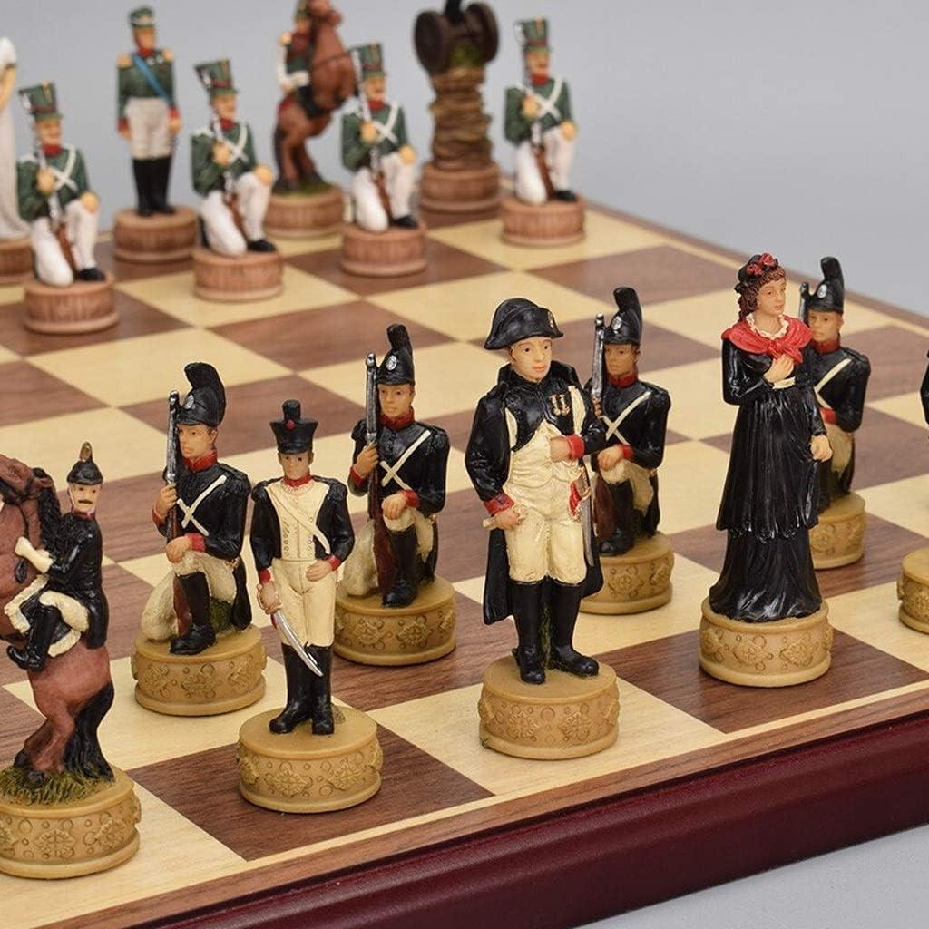 LOFAMI Juegos de Mesa Ajedrez Tablero de ajedrez de Madera Niños Desarrollo Intelectual Aprender Juguetes Simulación Carácter Resina Pieza de ajedrez Almacenamiento Damas Ajedrez Ajedrez: Amazon.es: Hogar